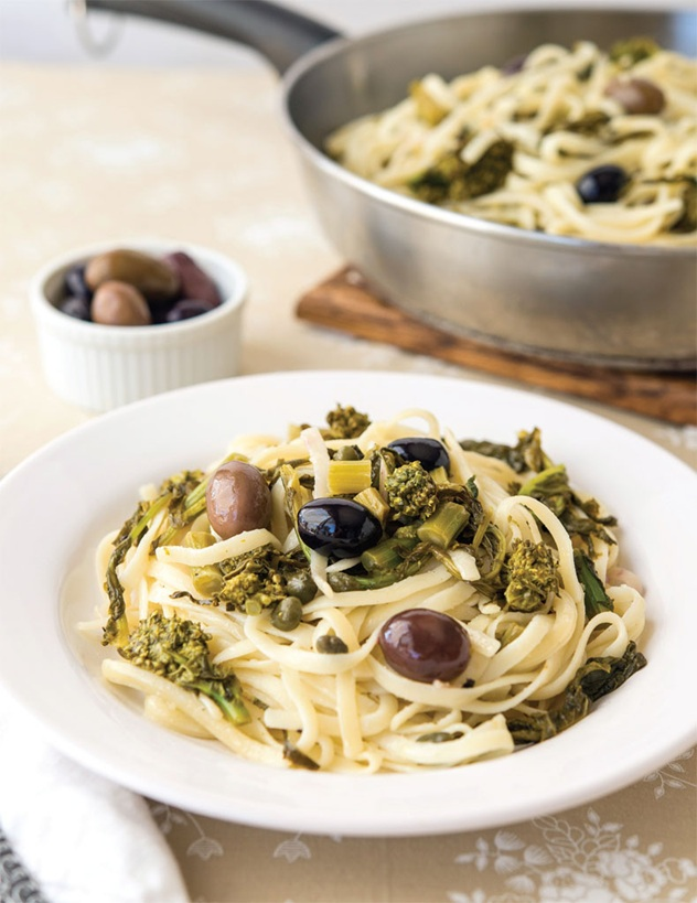 Linguini With Lemon, Olives, And Rapini